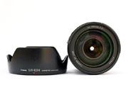 Canon EF 24-105mm f/4.0 L IS USM Front Lens View with model name inscription and filter size & lens hood EW-83H