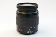 Canon EF 28-80mm f/3.5-5.6 Side View showing front element extension, type of focus ring, zoom scale