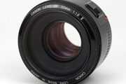 Canon EF 50mm 1.8 II Front Lens View showing model name inscription and focus ring