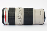 Canon EF 70-200mm f/4.0L IS USM Side View showing control elements (focus limiter, AF/MF, IS setting) and filter size