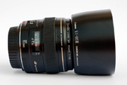 Canon EF 85mm f/1.8 USM Side View with Lens Hood ET-65III mounted