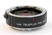 Kenko Teleplus Pro 300 AF 1.4x for Canon EF Side View showing model name inscription, multi coating and 11 electronic contacts