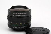 KMZ 16mm f/2.8 Zenitar-M Fisheye Side View showing model name inscription, aperture range, focus scale and original lens cap