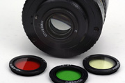 KMZ 16mm f/2.8 Zenitar-M Fisheye M42 Type 1 Back View showing rear filter size and full set of 4 included filters