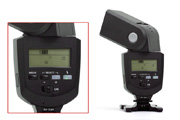 Metz Mecablitz 48 AF-1C digital for Canon EOS Back View showing LCD screen, control elements and head movement capabilities