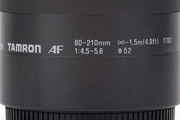 Tamron AF 80-210mm 4.5-5.6 178D for Canon EF Detail showing model name inscription, filter size and minimum focusing distance
