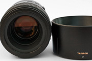 Tamron AF 90mm f/2.8 SP Di 1:1 Macro for Canon EOS Front Lens View showing coating details and the dedicated lens hood